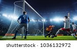 soccer game moment  on... | Shutterstock . vector #1036132972
