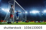 soccer game moment  on... | Shutterstock . vector #1036133005