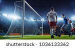 soccer game moment  on... | Shutterstock . vector #1036133362