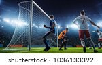 soccer game moment  on... | Shutterstock . vector #1036133392