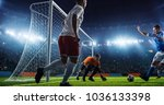 soccer game moment  on... | Shutterstock . vector #1036133398
