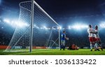 soccer game moment  on... | Shutterstock . vector #1036133422
