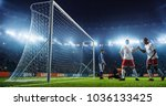 soccer game moment  on... | Shutterstock . vector #1036133425