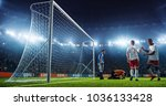 soccer game moment  on... | Shutterstock . vector #1036133428