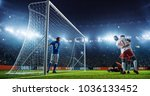 soccer game moment  on... | Shutterstock . vector #1036133452