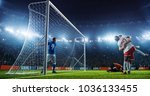 soccer game moment  on... | Shutterstock . vector #1036133455