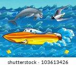 Happy cartoon motorboat - stock photo