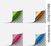 set of paper curled vector... | Shutterstock .eps vector #1036135588