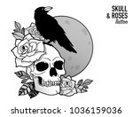 tattoo scull   roses design... | Shutterstock .eps vector #1036159036