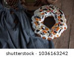 top view on the rustic country... | Shutterstock . vector #1036163242