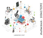 isometric scientific laboratory ... | Shutterstock .eps vector #1036173292