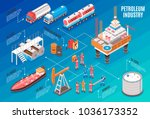 oil gas industry isometric... | Shutterstock .eps vector #1036173352