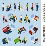 set of isometric icons with... | Shutterstock .eps vector #1036173382