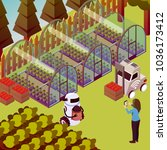 agricultural robots isometric... | Shutterstock .eps vector #1036173412