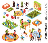 set of isometric icons with... | Shutterstock .eps vector #1036173478