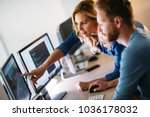 software engineers working on... | Shutterstock . vector #1036178032