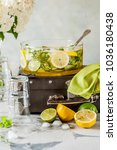 fresh lemon  lime  thyme and... | Shutterstock . vector #1036180438
