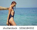woman in bikini  on tropical... | Shutterstock . vector #1036184332
