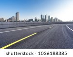 empty road with modern office... | Shutterstock . vector #1036188385