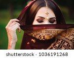 portrait of beauty indian model ...   Shutterstock . vector #1036191268