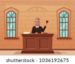 judge character with hammer.... | Shutterstock .eps vector #1036192675