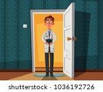 smart doctor on doorway. funny... | Shutterstock .eps vector #1036192726