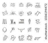outline black icons set in thin ... | Shutterstock .eps vector #1036194472