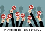hands holding auction paddle.... | Shutterstock .eps vector #1036196032