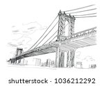 manhattan bridge  hand drawn.... | Shutterstock .eps vector #1036212292