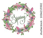 spring background with flowers. ... | Shutterstock .eps vector #1036215502