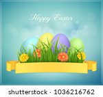 happy easter card with eggs ... | Shutterstock .eps vector #1036216762