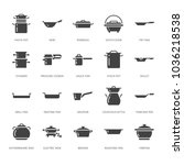 pot  pan and steamer glyph... | Shutterstock .eps vector #1036218538
