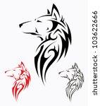 tribal wolf tattoo   vector... | Shutterstock .eps vector #103622666