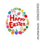 easter greeting childish card... | Shutterstock .eps vector #1036232452