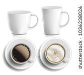 coffee cups vector. top  side...   Shutterstock .eps vector #1036238026