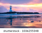 colorful of lighthouse at...   Shutterstock . vector #1036255348
