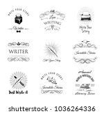 writer vintage labeles and... | Shutterstock .eps vector #1036264336
