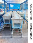 Small photo of SOEST, NETHERLANDS - February 28. Supermarket carts of Ahold Albert Heijn Delhaize and Dutch text 'take here your trolley' on February 28, 2018 in Soest.
