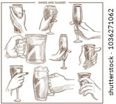 hands holding drink glasses... | Shutterstock .eps vector #1036271062