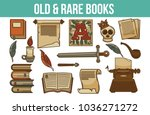 old and rare books together... | Shutterstock .eps vector #1036271272