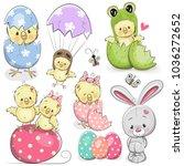 easter set with cute cartoon... | Shutterstock .eps vector #1036272652