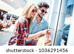 beautiful young couple enjoying ... | Shutterstock . vector #1036291456