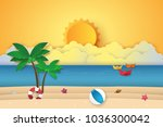 summer time   sea with origami... | Shutterstock .eps vector #1036300042