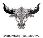 bull head with solver vintage... | Shutterstock .eps vector #1036302292