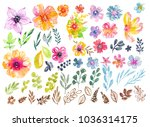 colorful floral collection with ... | Shutterstock . vector #1036314175