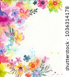 colorful floral background with ... | Shutterstock . vector #1036314178