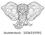 elephant mandala  vector... | Shutterstock .eps vector #1036319392
