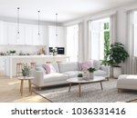 3d rendering. modern living... | Shutterstock . vector #1036331416