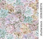 pattern pink green succulents...   Shutterstock . vector #1036338376