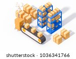warehouse package logistic... | Shutterstock . vector #1036341766